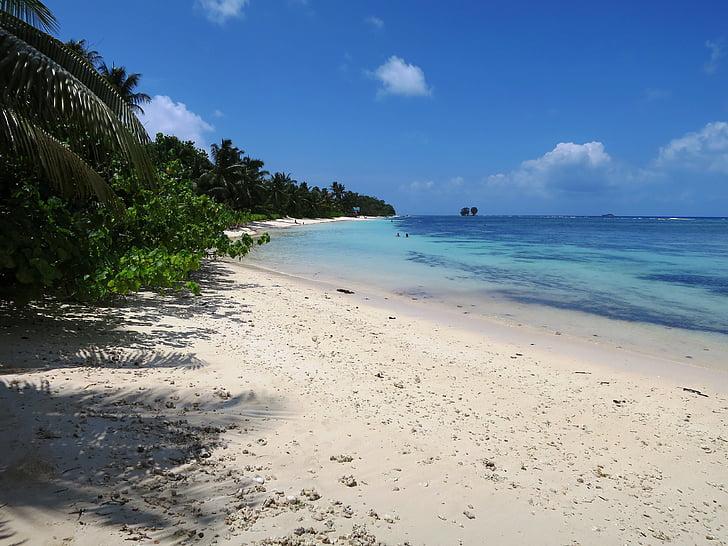 Seychellen, prachtig strand, La dique, Indische Oceaan, strand, eiland, zandstrand