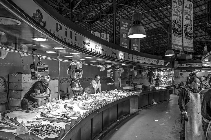 торговля, Рыба, рыбный рынок, Крытый рынок, рынок, Рынок зал, торговцы