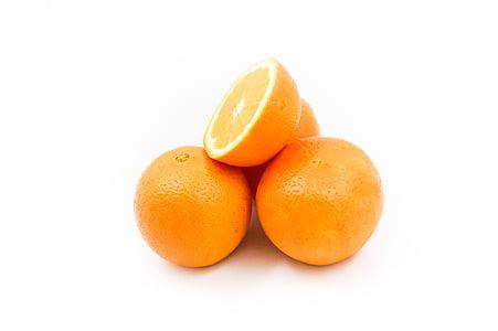 pomarańcze, owoce, witaminy, połowa, pomarańczowy, świeży, bogactwo