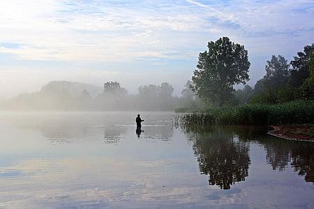 embassament de losheimer, badesee, pescador, boira de matí, matí tranquil, cel, Banc