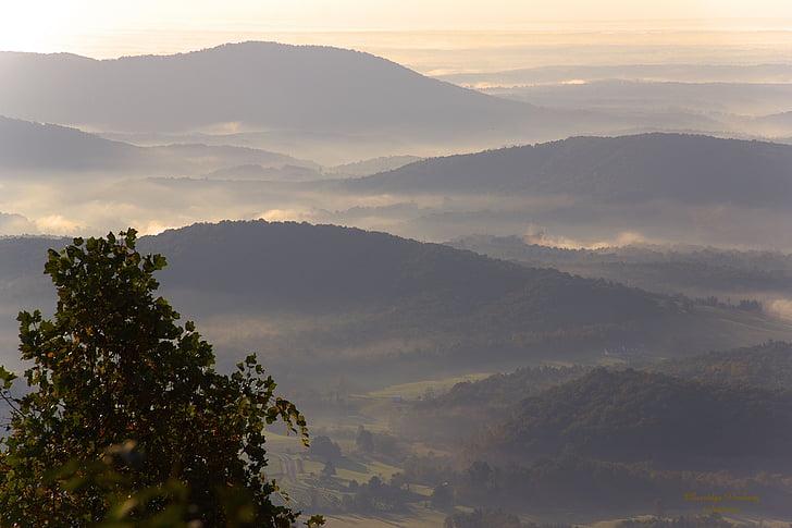 landskap, Blue ridge parkway, bergen, naturen, Mountain, solnedgång, morgon