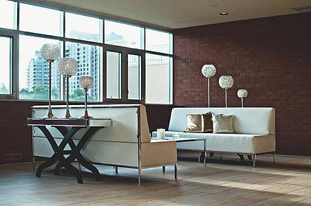 Apartament, paret de Maó, contemporani, sofà, mobles, casa, casa