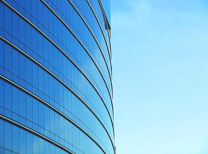 building, office, skyscraper, blue, sky, city, modern