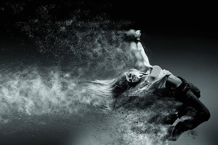 personne, mouvement, Vitesse, noir et blanc, sable, un seul homme, partie du corps humain
