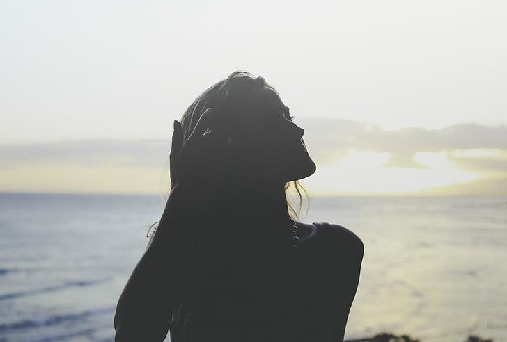 hav, person, sjøen, silhuett, kvinne