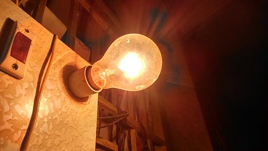 ljus, lampan, glödlampa, glödlampor, gamla, glödande, glöd