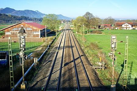 railroad tracks, seemed, train, track, railway tracks, rail traffic, landscape