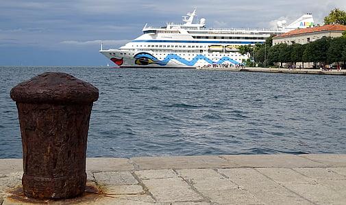 kryssningsfartyg, Kroatien, Dalmatien, Zadar, Aida, hamn, Cruiser