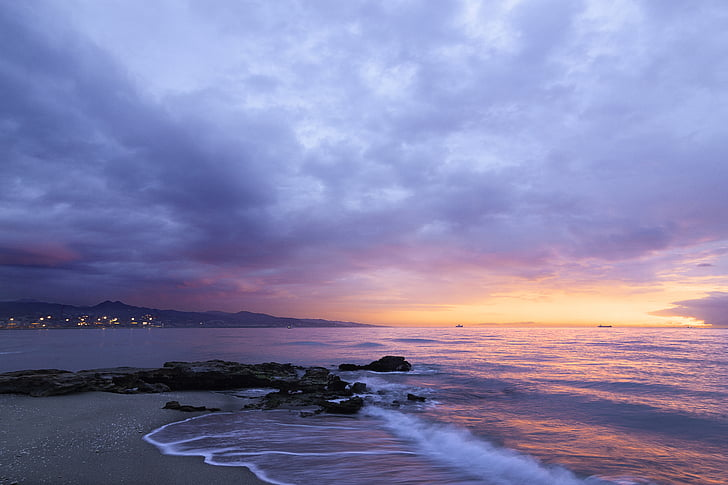 ocean, water, sunset, beach, cloud, horizon, sand