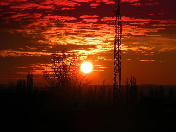 solnedgång, Sky, solen, molnet, Twilight, skymning, orange färg
