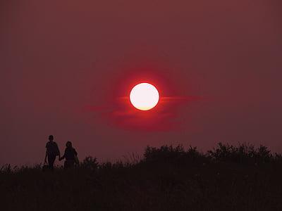 Sunset, rød, par, Kærlighed, sammen, to, venskab