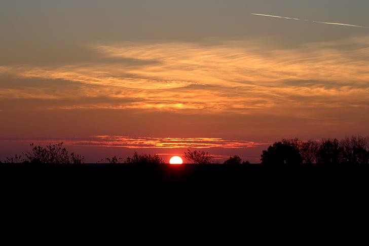 solnedgång, Sky, molnet, på kvällen, naturen, skymning, siluett