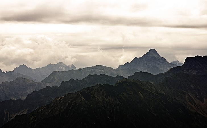 mountains, mood, landscape, clouds, sky, alpine, hochvogel