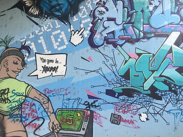 színes, képregény, graffiti, Street art, permetezőgép, Art, spray