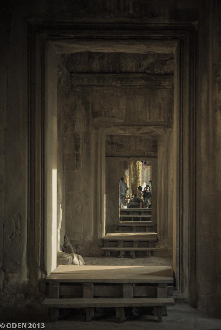 rekursive, døren, uendelig, Temple, sten, historiske, Angkor