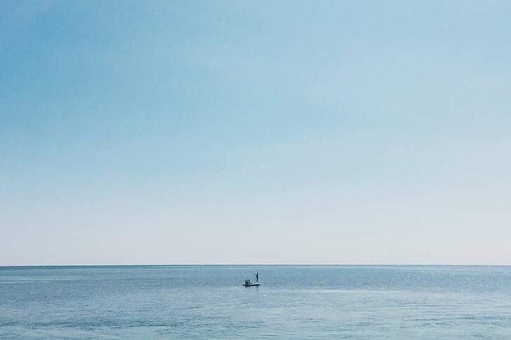 fisherman, fishing, angling, sea, sky, blue, ocean