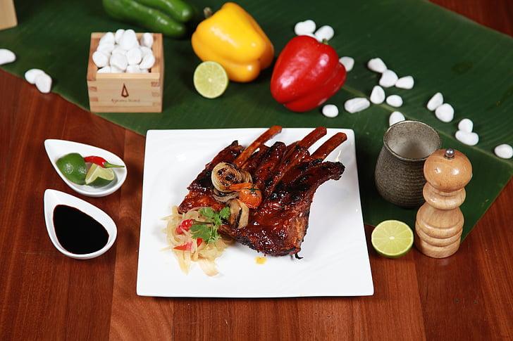 grilované bravčové rebierka, jedlá z grilu, bravčové mäso, rebrá, hydina, Reštaurácia, kyslá