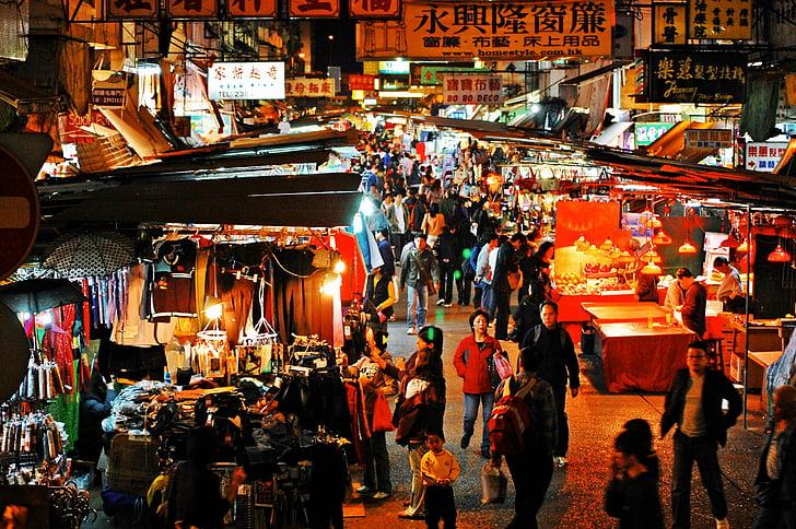 Hong kong, mercat nocturn, nit, mercat, ciutat, Xina, carrer