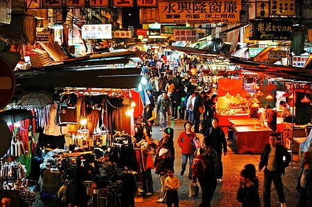hong kong, night market, night, market, city, china, street