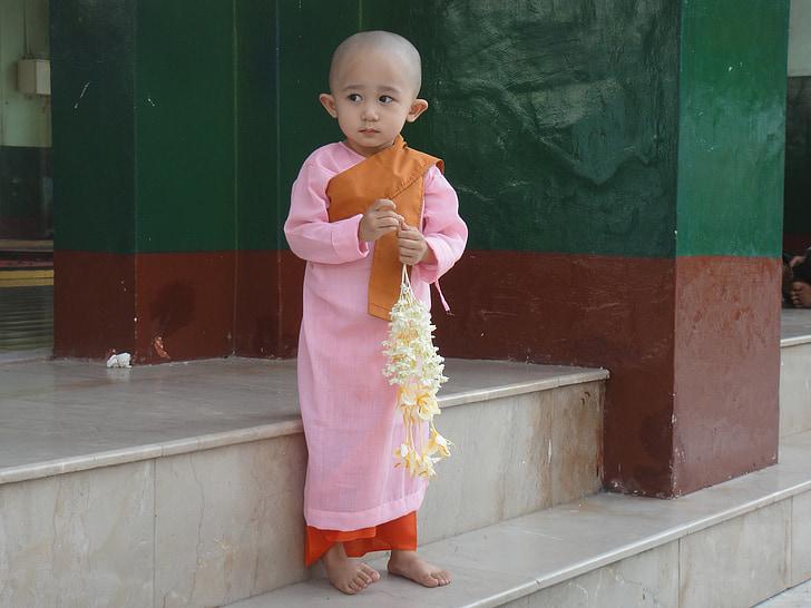 dieťa, Mjanmarsko, Barma, mních, sladký, hanblivý, dievča