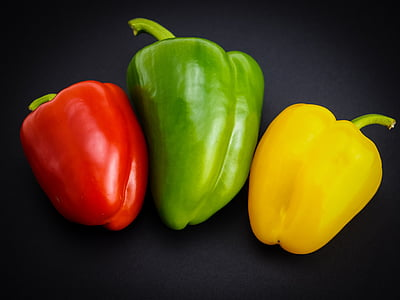 paprika, dārzeņi, sarkanie pipari, pārtika, zaļa, zaļie pipari, dzeltena