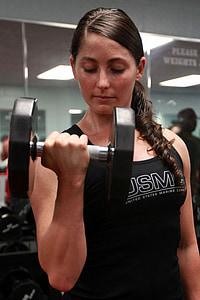 svoriai, kėlimo, galia, moteris, treniruoklių salė, sporto, Jauni