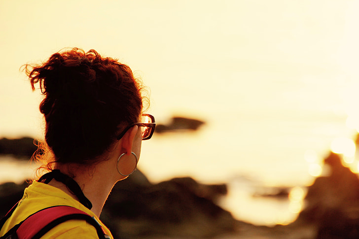 pôr do sol, Assistir, férias, romântico, perspectivas, mar
