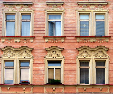 window, facade, architecture, building, old window, ornaments, eaves