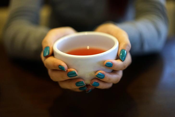 tēja, kauss, tējas tase, karstā, rokas, saimniecība, sasilšanas