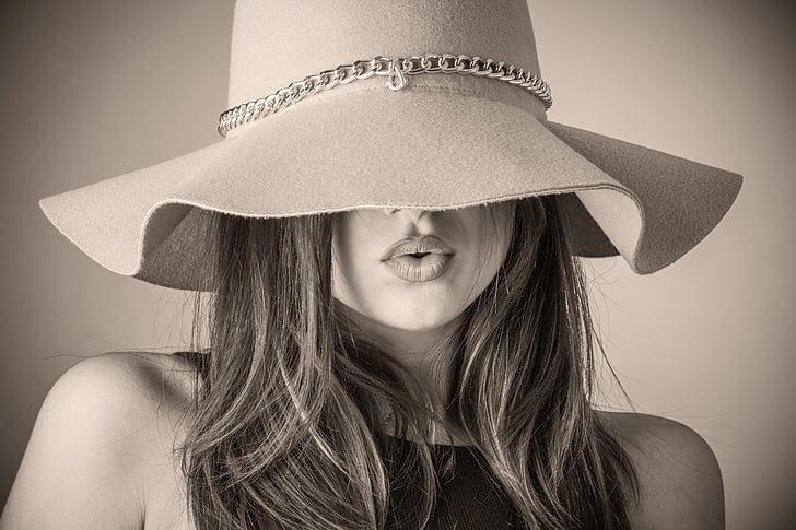 mood, ilus naine, naine, müts, mis hõlmab, peidetud nägu, peidetud