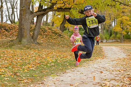 maraton, šport, otroci, prost dostop, jeseni, Park