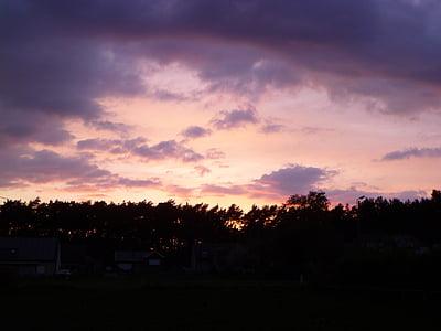 πολύχρωμο ηλιοβασίλεμα, Ήλιος, ηλιοβασίλεμα, Κίτρινο, πορτοκαλί, μπλε, ροζ