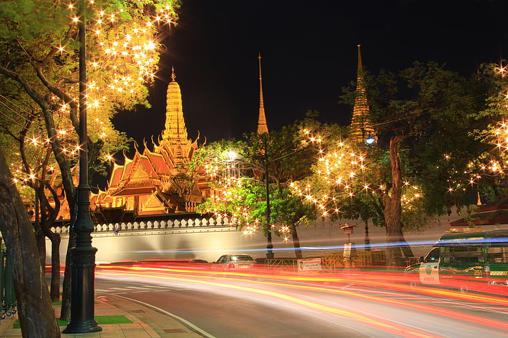temple of the emerald buddha, the night, the light, the line of fire, tourism, bangkok, thailand