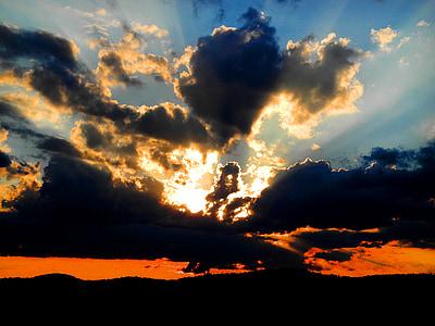 Twilight, Dawn, oblaky, západ slnka, Sky, večernej oblohe