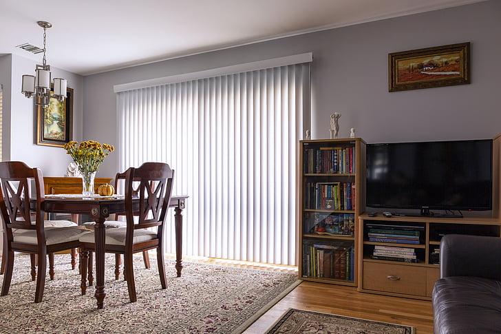 loddrette persienner, skyvedør, blinds, vinduet behandling, hjem, interiør, huset