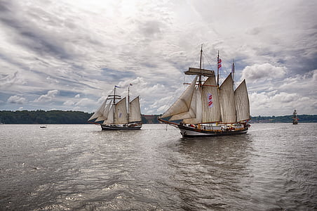 sailing ships, sea, water, rigging, travel, coast, nautical Vessel