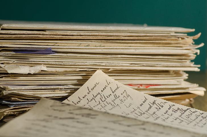 stack bokstäver, brev, handskrift, familjens brev, skriftliga, Pen, bläck