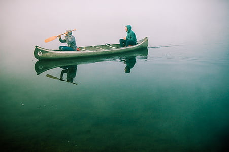 canoe, boat, paddling, water, summer, lake, sport