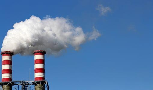 fum, fàbrica, contaminació, indústria, xemeneia, fums, fum - estructura física