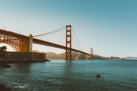 golden, gate, bridge, low, angle, photography, daytime
