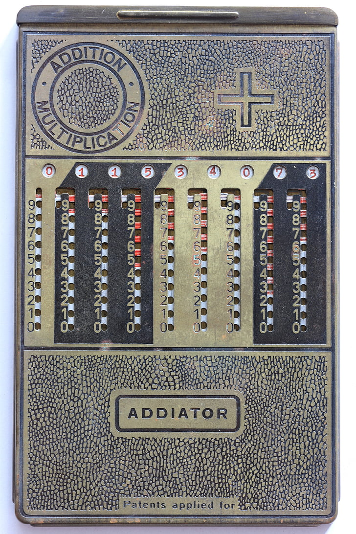 addiator, mechaninis, skaičiuoklė, pridėti, atimti, papildymas, atimtis