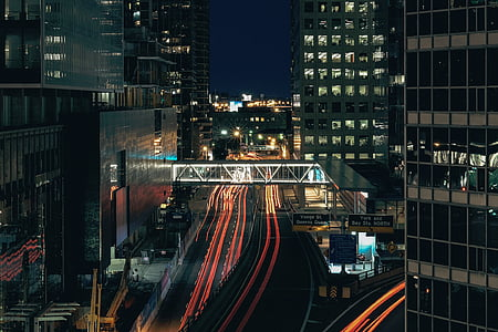 buildings, city, urban, architecture, lights, night, traffic