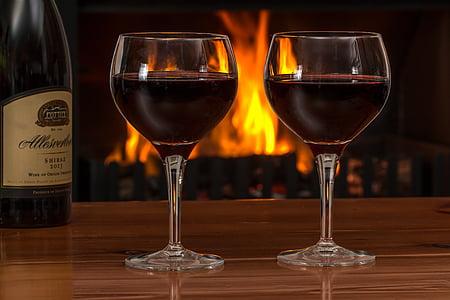 vi negre, ulleres, llar de foc, vermell, vi, l'alcohol, beguda
