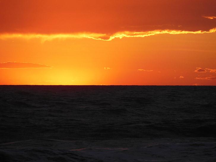 abendstimmung, 바다, 일몰, 잔 광