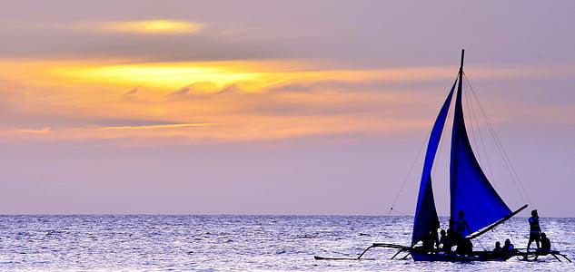 posta de sol, vela, vaixell, Mar, oceà, veler, navegació a vela