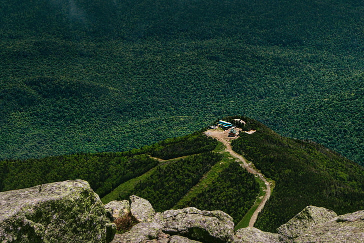 mountain top, mountain, aerial, aerial view, green, trees, grass