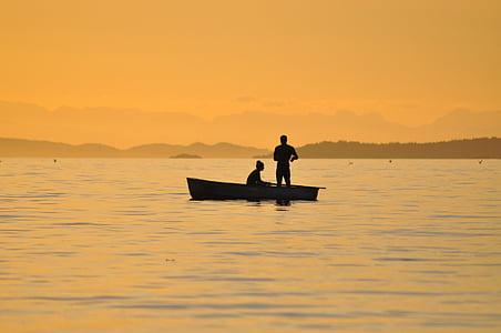 Ocean, fiske, solnedgång, British columbia, att fånga, fisk, siluett