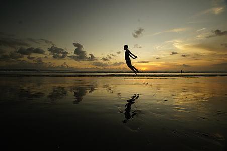 stranden, daggry, skumring, hav, refleksjon, sjøen, Seascape