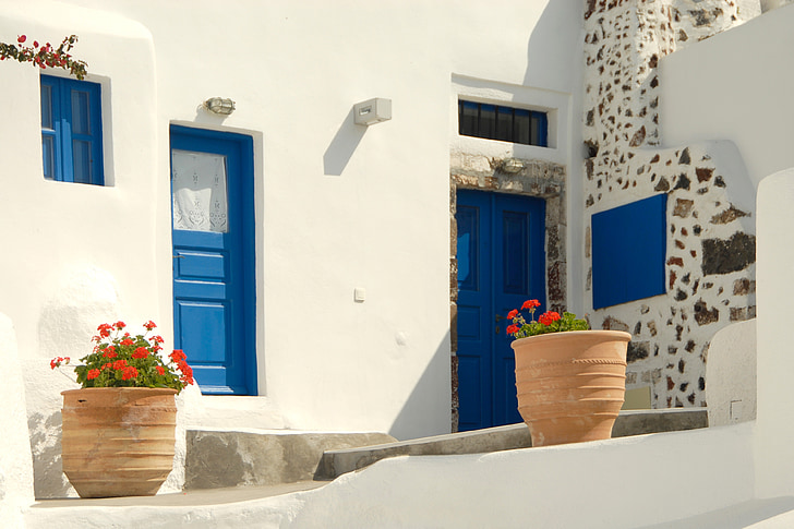 greece, homes, blue, holiday, white
