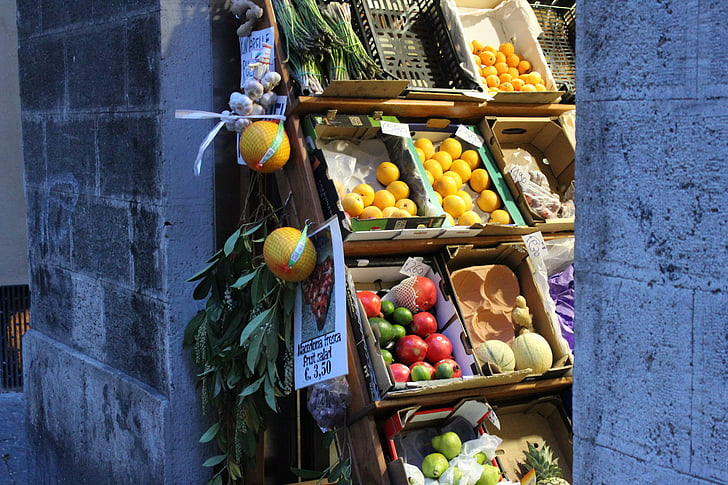 mercat, fruita, verdures, parada de fruita, compra, Itàlia, fruites